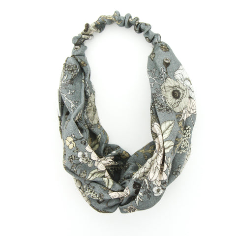 SS20 Luxe Muslin Adult Turban Headband - Latte/Grey Floral