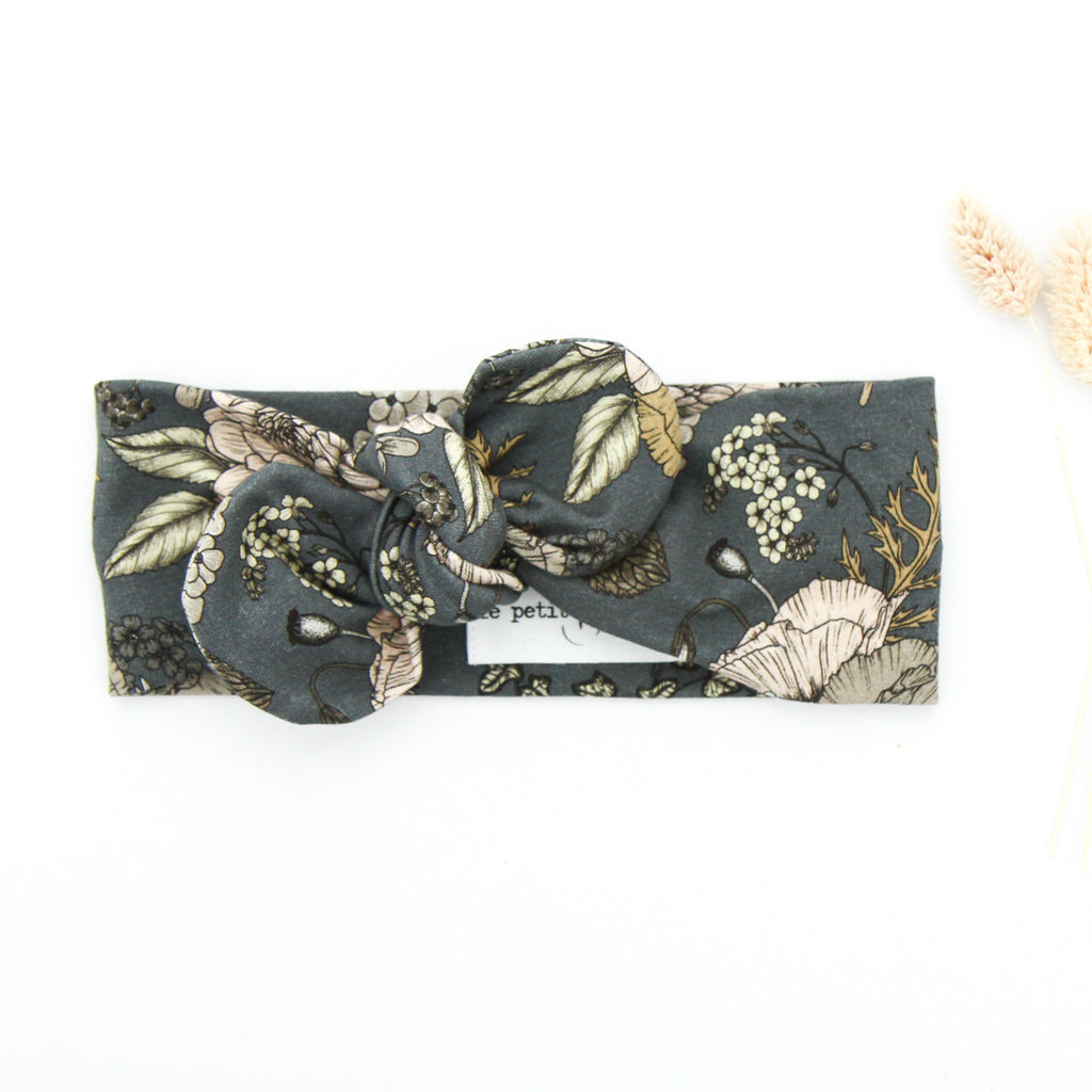 SS20 Cotton Lycra Knit Top Knot Headband - Latte/ Grey Floral