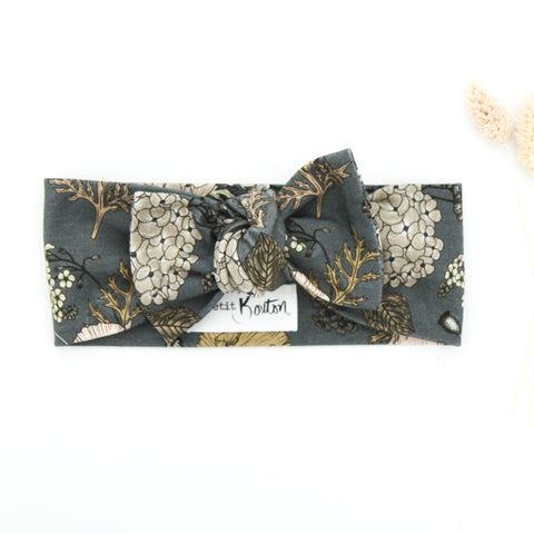 SS20 Cotton Lycra Knit Bow Knot Headband - Latte/Grey Floral