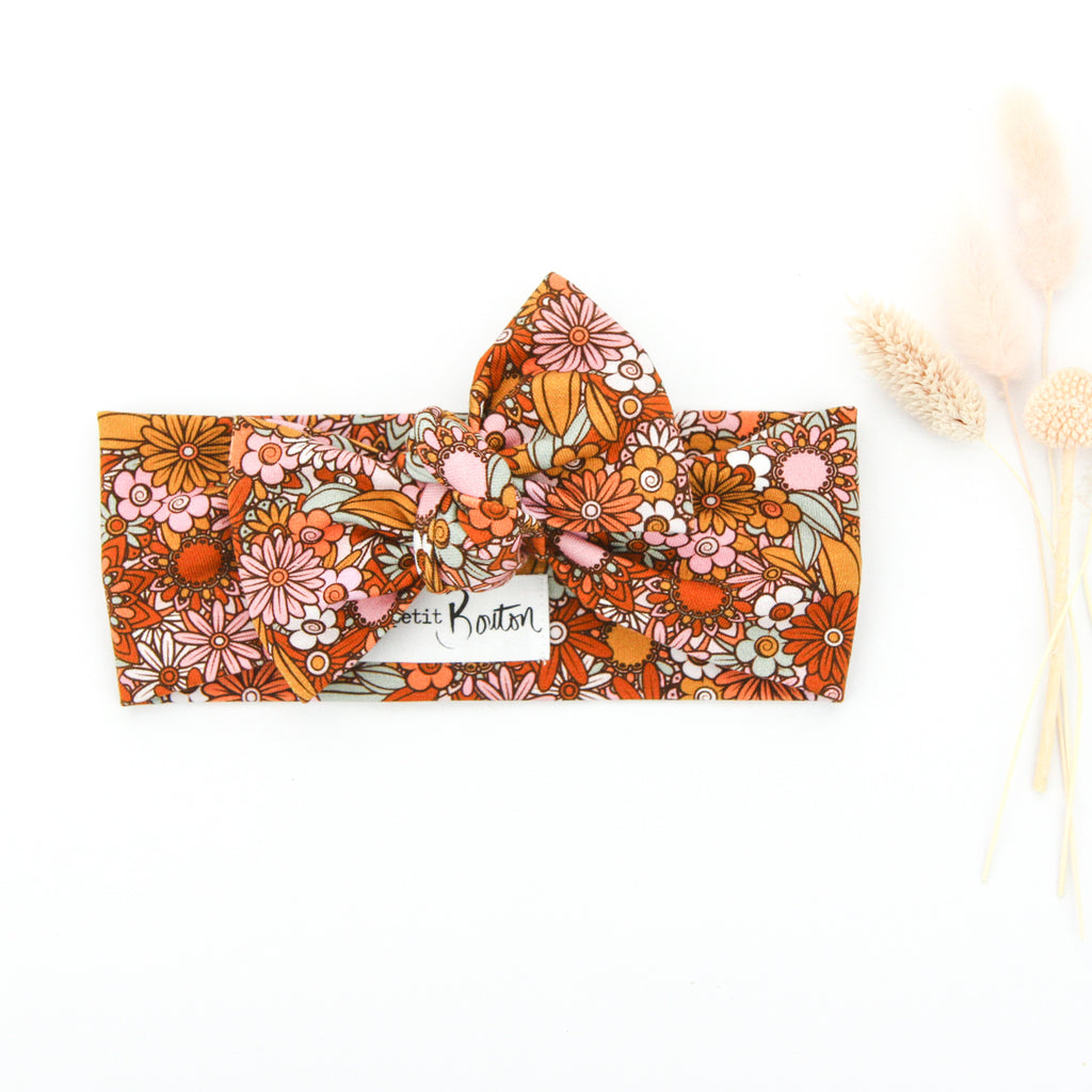 SS20 Cotton Lycra Knit Bow Knot Headband - Flower Power - Floral