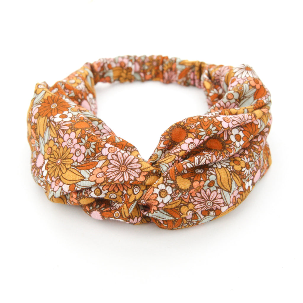SS20 Luxe Muslin Adult Turban Headband - Flower Power