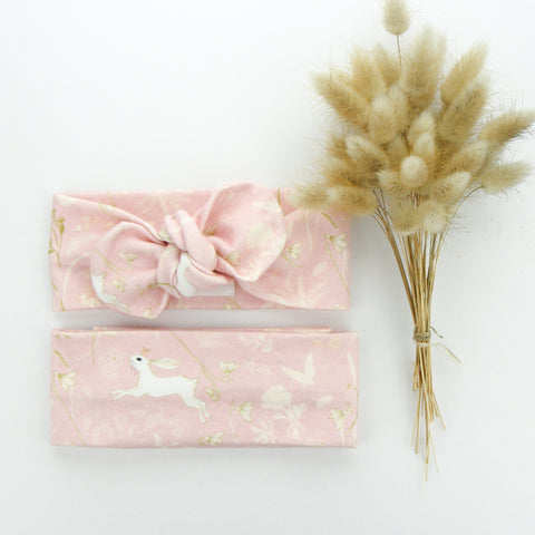 Easter 21 - Organic Cotton Top Knot Headband - Ballerina Pink Bunny