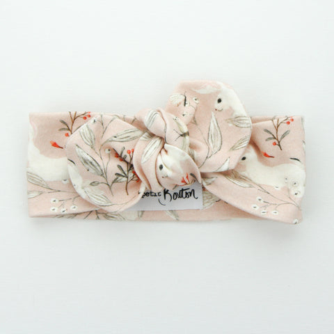 Easter 21 - Organic Cotton Top Knot Headband - Blush Whimsical Bunny