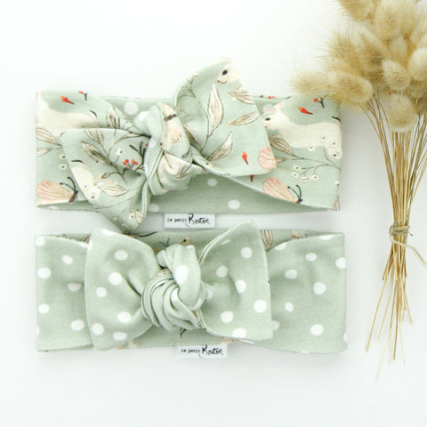 Easter 21 - Organic Cotton Reversible Bow Knot Headband - Sage Whimsical Bunny