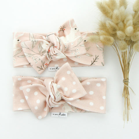 Easter 21 - Organic Cotton Reversible Bow Knot Headband - Whimsical Blush Bunny