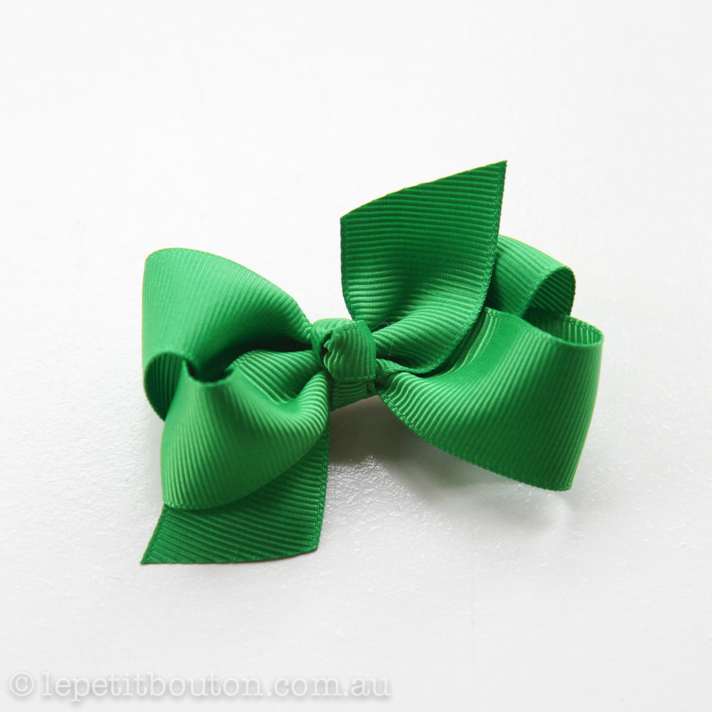 "Small Bow Hairclip ""Milla"" Emerald - Le Petit Bouton"