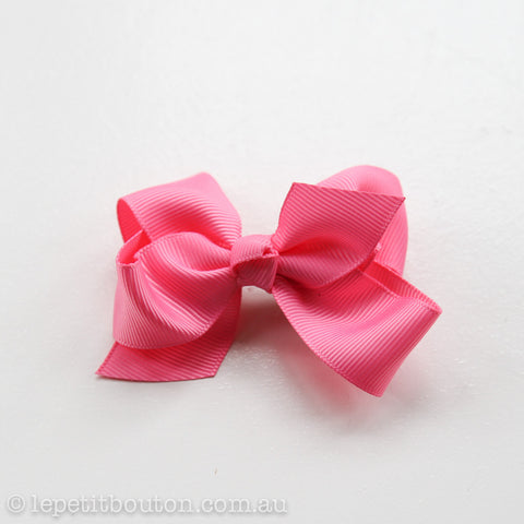 Small Grosgrain Ribbon Bow Clip - Hot Pink