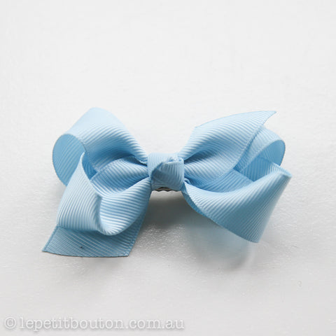 Small Grosgrain Ribbon Bow Clip - Light Blue