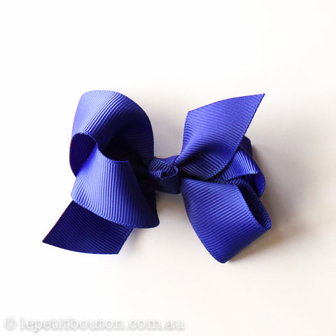Small Grosgrain Ribbon Bow Clip - Cobalt