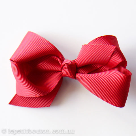 Small Bow Hair Clip Deep Red