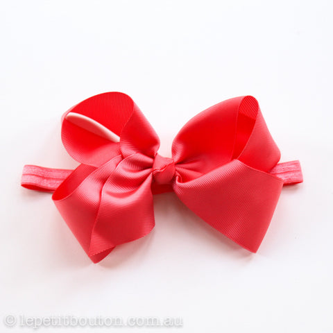 "Large Bow Headband ""Abby"" Coral"