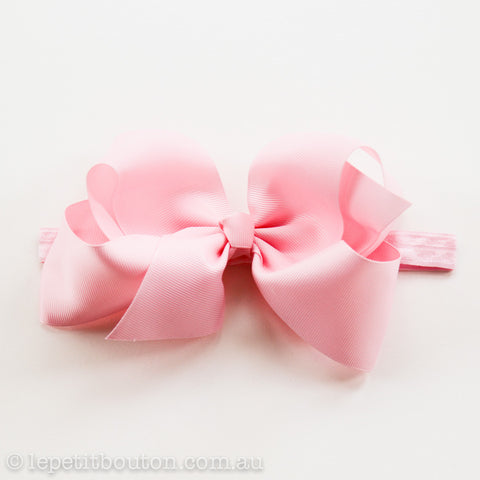 "Large Bow Headband  ""Amy"" Pink - Le Petit Bouton"