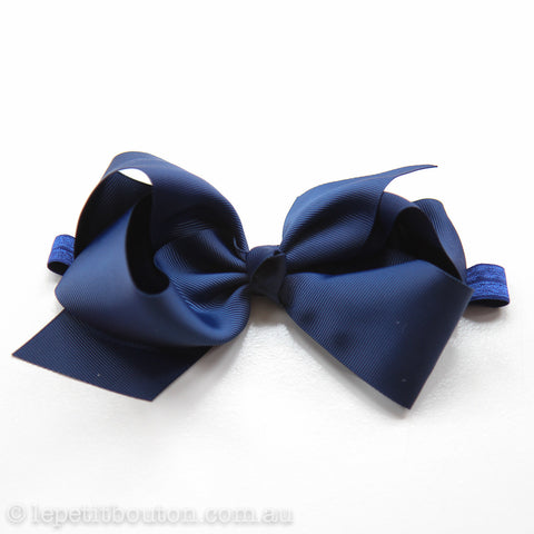 "Large Bow Headband ""Lili"" Navy"