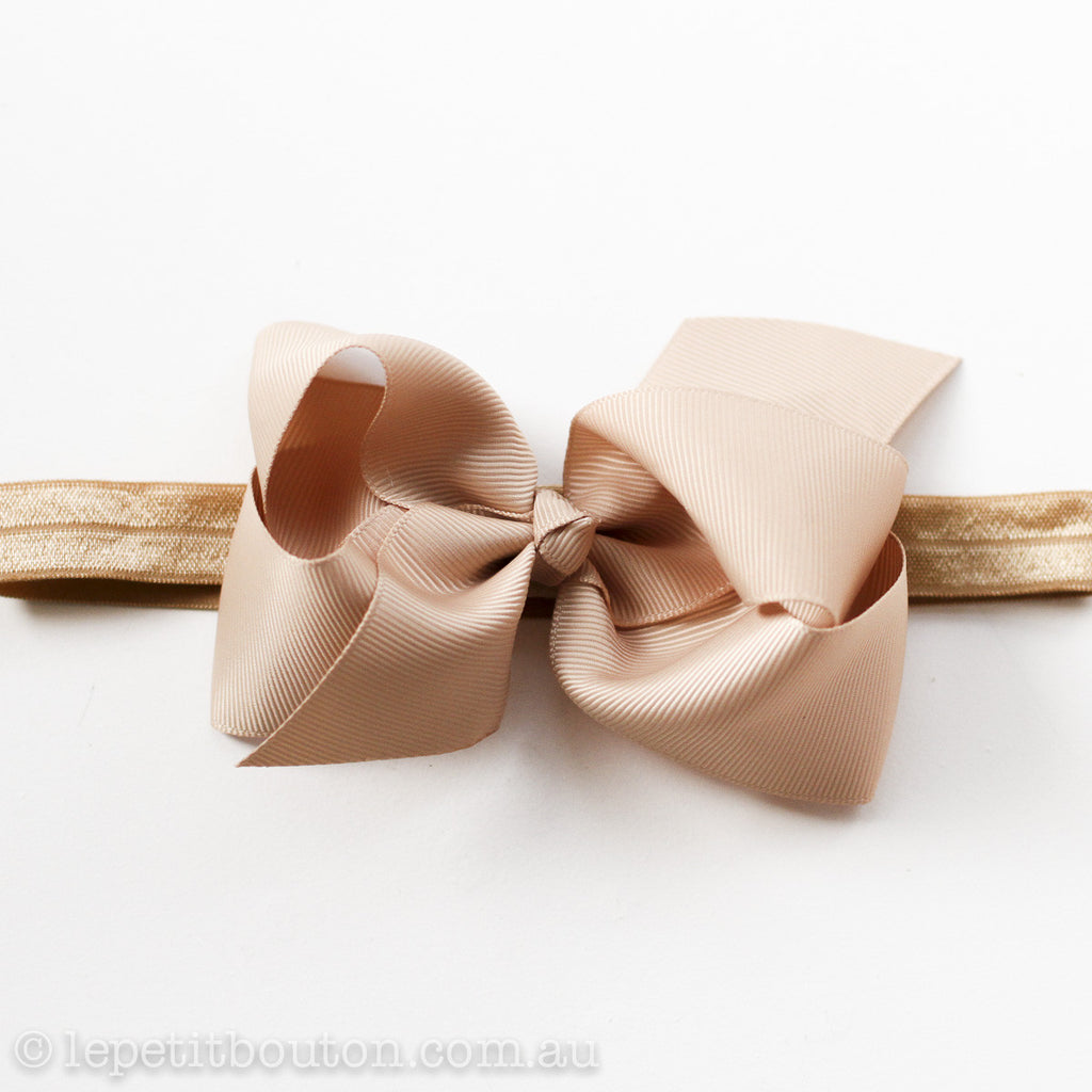 "Medium Bow Headband ""Dakota"" Caramel - Le Petit Bouton"