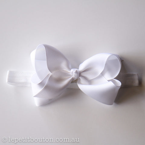 "Medium Bow Headband ""Crystal"" White"