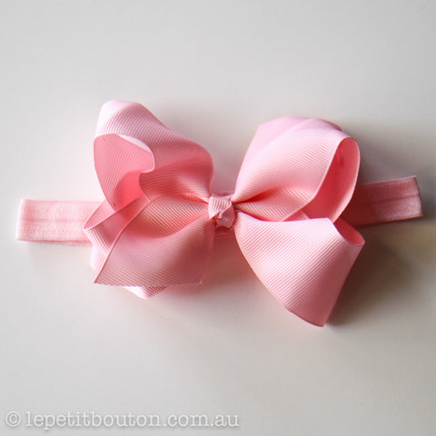 "Medium Bow Headband ""Chenille"" Pink"