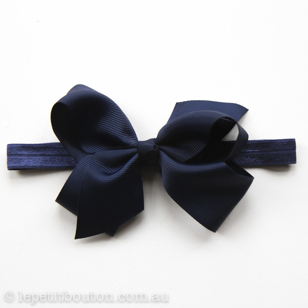 "Medium Bow Headband ""Alana"" Navy - Le Petit Bouton"