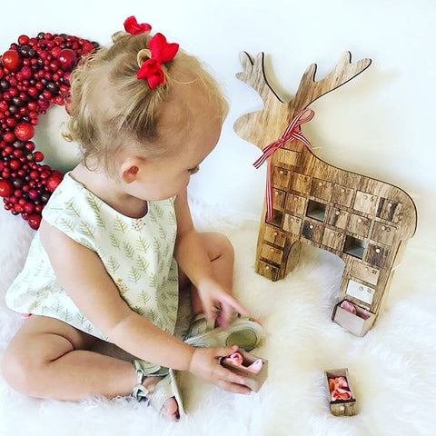 Christmas Reindeer Advent Calendar with 25 Petit Bows Set