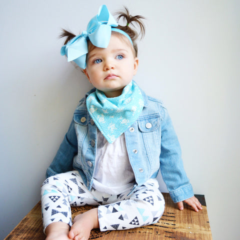 "Large Bow Headband ""Chloe"" Light Blue"