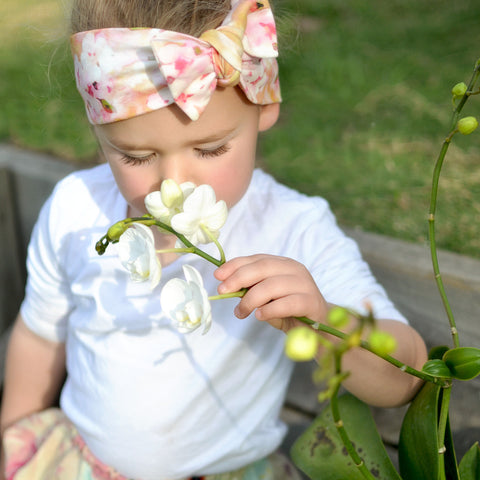 Spring Organic Cooton Bow Knot Headband - Watercolor Cherry Blossom