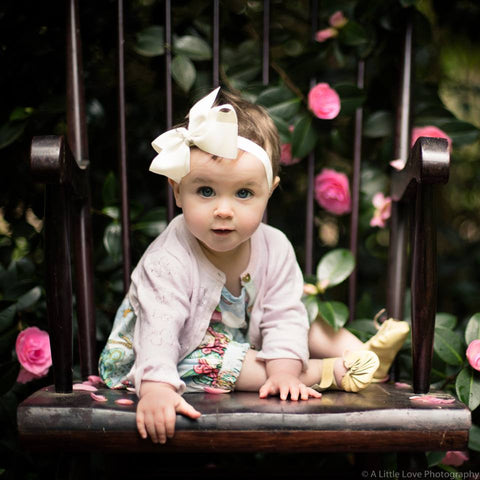 "Medium Bow Headband ""Yvette"" Ivory"