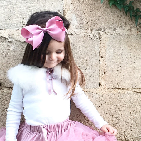 "Large Ribbon Bow Headband ""Valentina"" Plush Pink"