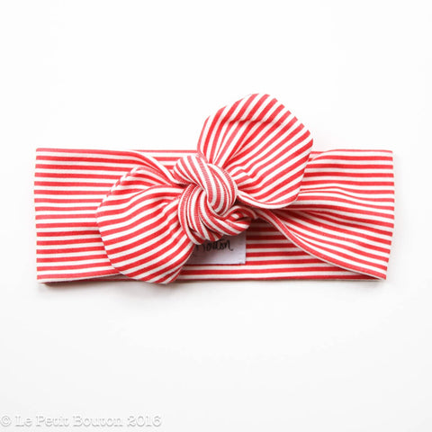 Christmas Top Knot Headband- Candy Stripe