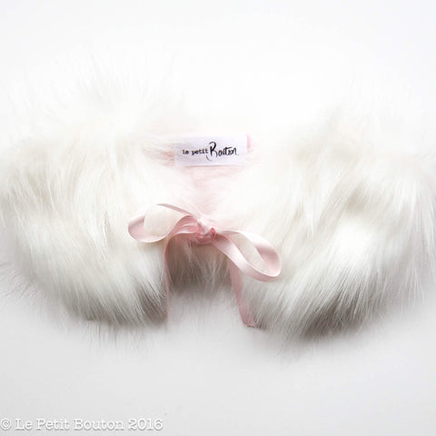 "Christmas 2016 Luxe Faux Fur Collar ""Quinn"" White with Powder Pink Linen Lining - Le Petit Bouton"