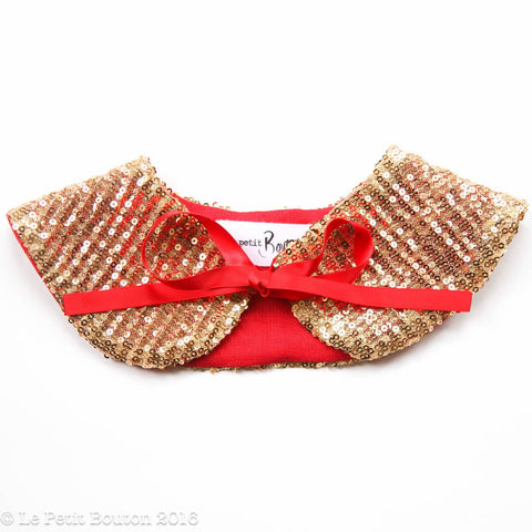 "Christmas 2016 Sequin Collar ""Mira"" Gold/Red - Le Petit Bouton"