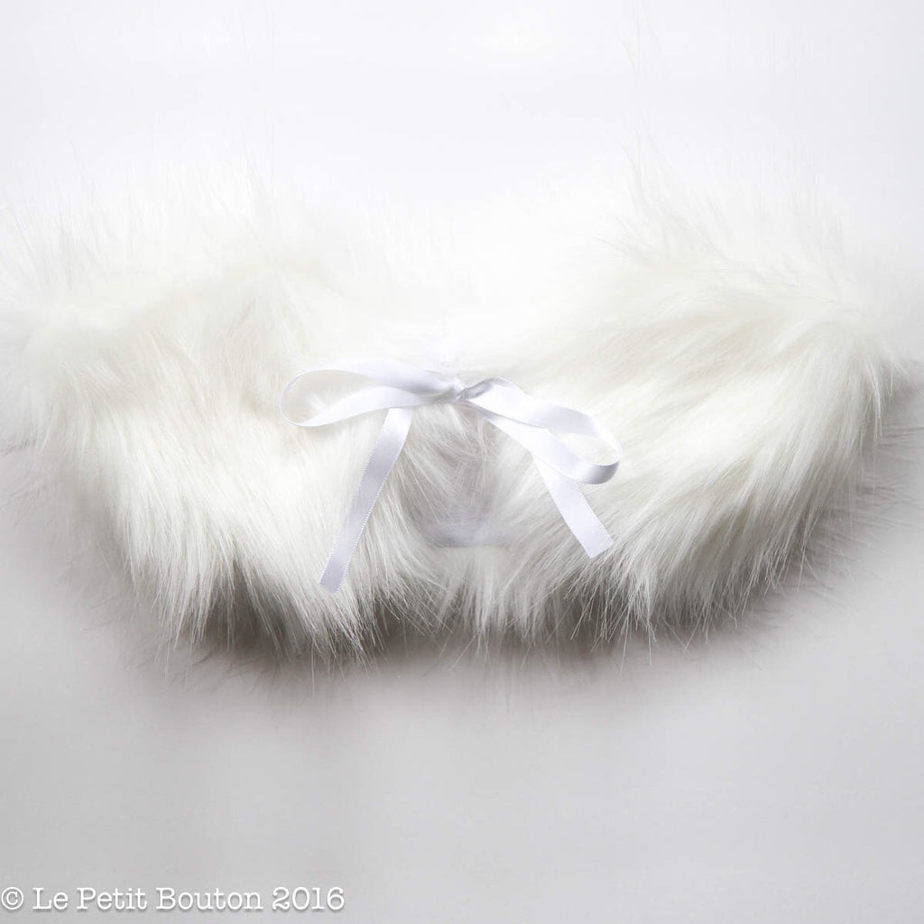 "Christmas 2016 Luxe Faux Fur Collar ""Waverley"" White On White - Le Petit Bouton"