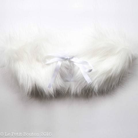 Christmas Luxe Faux Fur Collar - Snow White On White