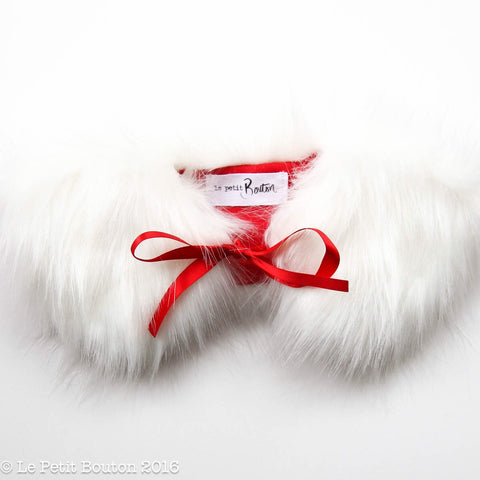 "Christmas Luxe Faux Fur Collar ""Lillie"" White With Red Linen Lining"