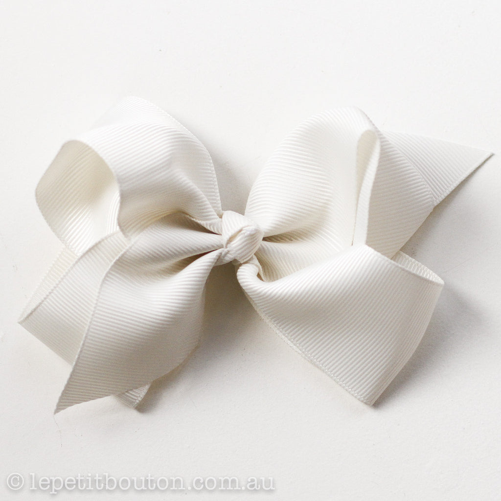 "Medium Bow Hairclip ""Tiahn"" Ivory - Le Petit Bouton"
