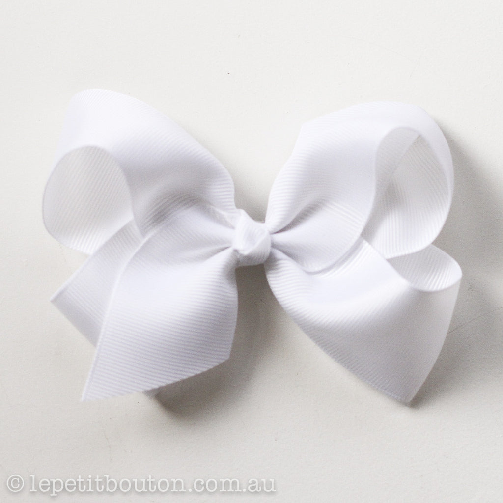 "Medium Bow Hairclip ""April"" White - Le Petit Bouton"