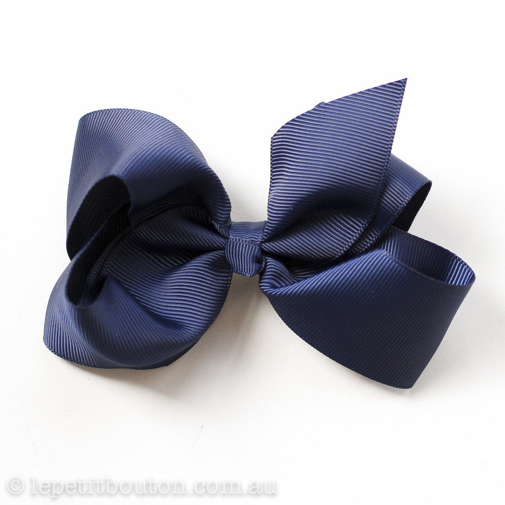 "Medium Bow Hairclip ""Marley"" Navy - Le Petit Bouton"
