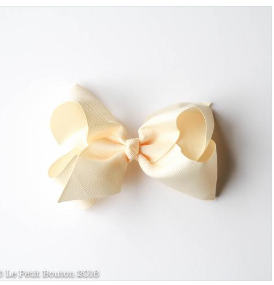 Small Grosgrain Ribbon Bow Hair Clip - Buttermilk