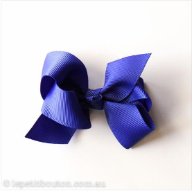 Medium Grosgrain Ribbon Bow Hair Clip - Cobalt