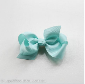 Medium Grosgrain Ribbon Bow HairClip - Aqua