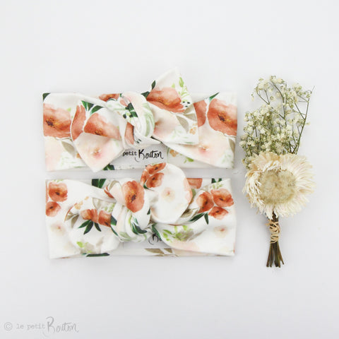 Spring 19 Organic Cotton Bow Knot Headband - Terracotta Blooms