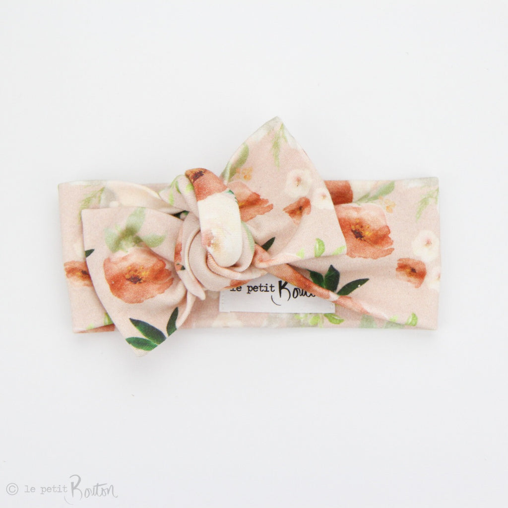 Spring 19 Organic Cotton Bow Knot Headband - Terracotta Blooms on Blush