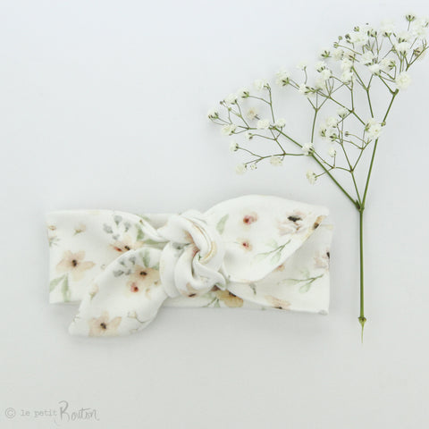 aw19/2 Newborn Organic Cotton Top Knot Headband - Exclusive Milk Wildflower