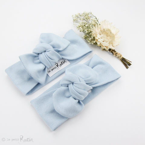 Spring 19 Organic Cotton Ribbed Top Knot Headband -Sky