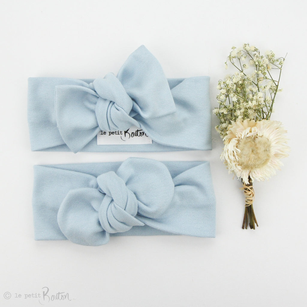 Spring 19 Organic Cotton Ribbed Bow Knot Headband -Sky