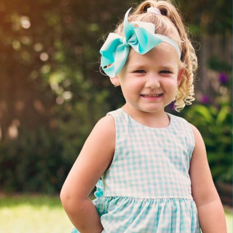 "Large Bow Headband ""Celia"" Aqua"