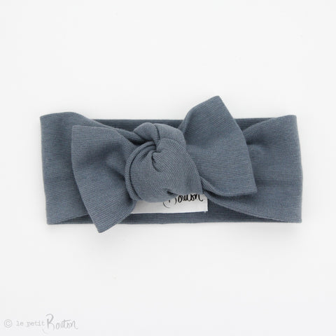 Spring 19 Organic Cotton Ribbed Bow Knot Headband - Steel