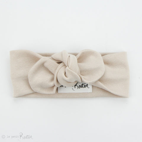 Spring 19 Organic Cotton Ribbed Top Knot Headband - Sand