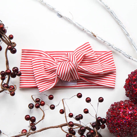 Christmas Organic Cotton Bow Knot Headband -  Candy Stripe