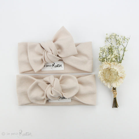 Spring 19 Organic Cotton Ribbed Bow Knot Headband -Sand