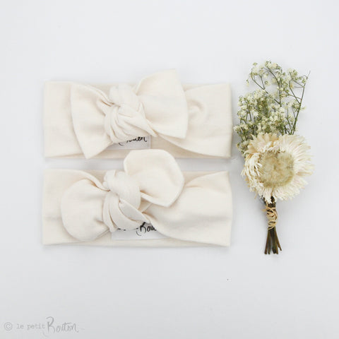 Spring 19 Organic Cotton Ribbed Bow Knot Headband - French Creme
