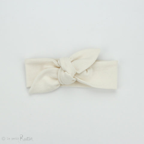Spring 19 Organic Cotton Ribbed Newborn Top Knot Headband - French Creme